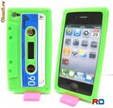 Husa protectie iphone 4 verde din silicon model caseta, iPhone 4/4S, Apple