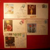 10 Plicuri -Ilustrate -Intreguri - FLORI - 1962- 1972 - Plic Papetarie