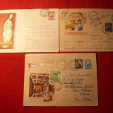 Set 3 Plicuri Ilustrate -Diverse - 1962-1969 - Plic Papetarie