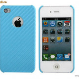 HUSA iPHONE 4 4G - BLUE CARBON - CARCASA iPHONE 4G 4G - Husa Telefon Apple, iPhone 4/4S