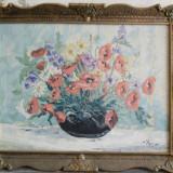 Megyesi Lucretia, vaza cu flori, pictor Baia Mare, pictura ulei pe panza - Pictor roman, Impresionism