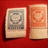Serie- Timbre de Serviciu 1952 Polonia, 2 valori - Timbre straine