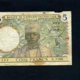Africa Occidentala 5 franci 22-4-39 fine