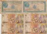 Lot 6 bancnote: 5000 lei 1944 si 1998 Romania
