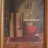 Komaromi Kacz Endre - Interior, pictura veche pe panza pictor maghiar - Pictor roman, Natura statica, Ulei, Realism