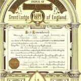 Brevet litografie Marea Loja a Angliei 1939
