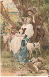 T FOTO 67 Romantica -Tineri indragostiti, si un caine de vanatoare  -foarte interesant de reprodus intr-un tablou