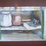 PICTURA/ GRAFICA- COLT DE BUCATARIE CU PISICA, ACUARELA - Pictor roman