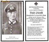 U FOTO 91 Necrolog -Militar german Obergefreiter Josef Dunstl (aviatie?), cazut in razboi, 29 ian 1943, la varsta de 31 de ani -crucea cu zvastica