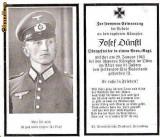 U FOTO 86 Necrolog -Militar german Obergefreiter Josef Dunstl (aviatie?), cazut in razboi, 29 ian 1943, la varsta de 31 de ani -crucea cu zvastica