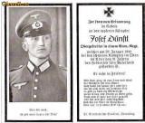 U FOTO 96 Necrolog -Militar german Obergefreiter Josef Dunstl (aviatie?), cazut in razboi, 29 ian 1943, la varsta de 31 de ani -crucea cu zvastica
