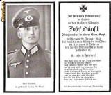 U FOTO 90 Necrolog -Militar german Obergefreiter Josef Dunstl (aviatie?), cazut in razboi, 29 ian 1943, la varsta de 31 de ani -crucea cu zvastica