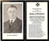 U FOTO 83 Necrolog -Militar german Franz Ditermeier ?, cazut in razboi la 9 oct 1941, la varsta de 22 de ani-sus are crucea germana cu zvastica1939