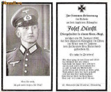 U FOTO 97 Necrolog -Militar german Obergefreiter Josef Dunstl (aviatie?), cazut in razboi, 29 ian 1943, la varsta de 31 de ani -crucea cu zvastica