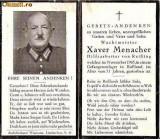 U FOTO 85 Necrolog -Militar german gradul Wachtmeister(sergent major) Xaver Menacher, cazut in razboi, noiembrie 1945, la varsta de 51 de ani