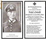U FOTO 99 Necrolog -Militar german Obergefreiter Josef Dunstl (aviatie?), cazut in razboi, 29 ian 1943, la varsta de 31 de ani -crucea cu zvastica