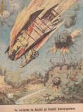 Ziarul Universul : un aeroplan in flacari ,primul razboi mondial 1915-gravura