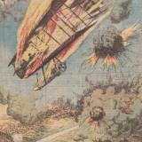 Ziarul Universul : un aeroplan in flacari pe frontul franco-german, primul razboi mondial (1915)-gravura color - Fotografie veche