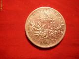 5 FRANCI 1963 FRANTA ,argint ,cal.F.Buna, d=2,9cm.