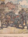 Ziarul Universul : omorarea unui birjar in Botosani (1910,gravura color)