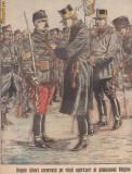 Ziarul Universul : Regele Albert decoreaza pe soldati (1914,gravura, ww1
