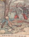Ziarul Universul : un mic erou francez mort cu arma in mana, primul razboi mondial (1915,gravura color)