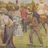 Ziarul Universul : raidul militar Bucuresti-Ploiesti-Albesti 1904,gravura color