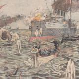Universul : cuirasatul francez J. Ferry scufunda un crucisator austriac 1914