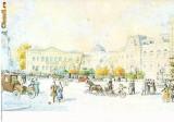 CP197-50 Bucuresti. Piata si vechiul palat regal, la sfarsitul sec XIX.Acuarela de H.Aescher -carte postala, necirculata -starea care se vede