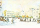 CP197-68 Bucuresti.Piata si vechiul palat regal, la sfarsitul sec.XIX. Acuarela de H.Aescher -carte postala, necirculata -starea care se vede