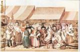 CP198-30 Muzeul Brukenthal Sibiu -Franz Neuhauser -Iarmaroc la Sibiu, la 1788 -carte postala, necirculata -starea care se vede