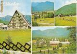CP200-27 Maneciu: Motel Cheia; Vedere din satul Cheia; Muntele Rosu; Manastirea Cheia -carte postala, circulata 1975 -starea care se vede