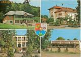 "CP200-21 Jud.Gorj(stema): Cabana turistica ,,Pestera muierilor"";Novaci, Casa de cultura; Novaci, Oficiul PTTR; Baia de Fier -circulata 1976"