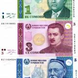 Tajikistan set 1 3 5 somoni 1999 - 2010 necirculate