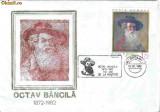 Plic special Octav Bancila, 1872-1982, 110 ani de la nastere, Botosani, 02.02.82