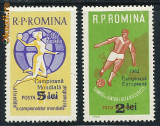1962 Romania sport 2 timbre neuzate MNH campioana handbal, fotbal supratipare, Nestampilat