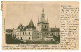 1038 - L i t h o, Mures, SIGHISOARA, The clock tower - old postcard - used -1904, Circulata, Printata