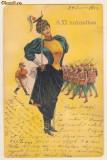 Ilustrata Regiment de femei - 1902, timbru maghiar,circulata la Craiova