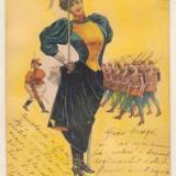 Ilustrata Regiment de femei - 1902, timbru maghiar, circulata la Craiova - Fotografie veche