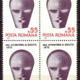 Romania L740.4x Anul Internat al.Educatiei  1970 bloc 4