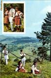 Ilustrata muzica, folclor,  bucium si port popular din Bisoca