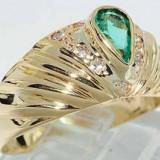 Superb inel aur galben 18K cu smarald si diamante naturale 3.82gr, 46 - 56