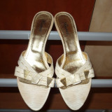 Sandale, papuci, saboti Crem, piele naturala, KISMET, nr. 38 - Sandale dama, Marime: 36.5