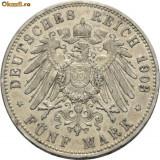 WILHELM II 1888---1918. 5 MARK ARGINT 1903 A 3 - Moneda Medievala, Europa