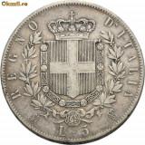 VITTORIO EMANUELE II 1861---1878. 5 LIRE ARGINT 1874, Europa