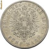 WILHELM I  1871---1888. 5 MARK ARGINT 1876 A