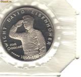 bnk mnd Ins. Marshall 5 $ 1990, unc , Eisenhower  - folder original