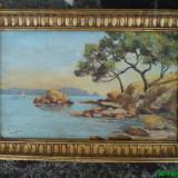 Pictura ulei pe carton, Peisaj marin de Lagotti - Pictor strain