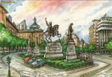 Ilustrata Bucuresti, Piata Universitatii, grafica D. Rosu, Necirculata, Printata