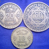 10, 20, 50 Francs Maroc  Al-Bro.  1371 (1952), Europa, Cupru (arama)